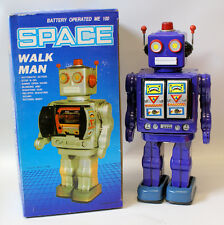 Vintage 1990's Tin Litho Battery Operated Purple SPACE 'WALK MAN' ROBOT in Box!