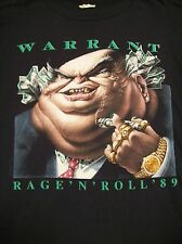 "WARRANT ""RAGE 'N' ROLL '89-DIRTY ROTTEN FILTHY STINKING RICH"" VINTAGE T-SHIRT L"