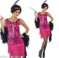 Ladies Pink Sequin 1920s Flapper Girl Charleston Fancy Dress Costume Outfit 8-22