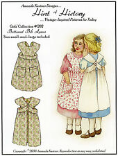 Girls Buttoned Bib Apron Size 1-8 Hint of History Sewing Pattern # 202 Easy Sew