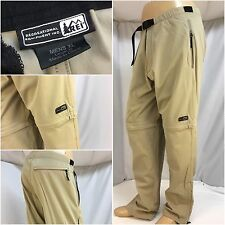 REI Hiking Pants XL Tan Nylon Lycra Zip Off Legs EUC YGI Y1748