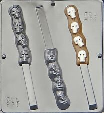 Skulls on Pretzel Rod Chocolate Candy Mold Halloween 961