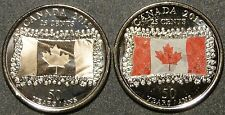 UNC 2015 Canada Flag 25 cent quarter red color & no color 2 coins set