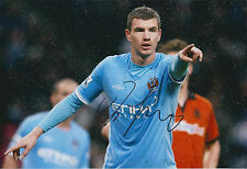 Edin DZEKO SIGNED COA Autograph 12x8 Photo AFTAL Man City Bosnian Genuine