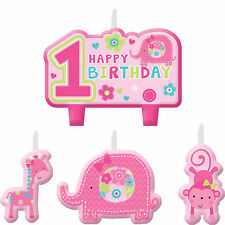 Fun To Be One Wild Pink Girls 1st Birthday Party Cake Decoration Candles Set 4ct