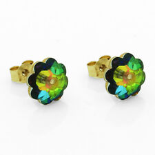 9ct Gold 8mm Vitrail Medium Flower Studs Made With Swarovski Elements  UK Made