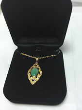 "New Gold plated Jade pendant  with 18"" necklace in a velvet gift box"
