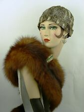 VINTAGE HAT ORIGINAL FRENCH 1920s, FLAPPERS SILVER BULLION JULIETTE CLOCHE CAP