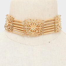 "14"" gold flower multi layer 6 row choker collar necklace 1.25"" wide"