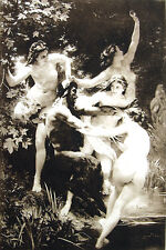 NAKED NUDE WOMEN GIRLS BREASTS NYMPHS & SATYR ~ Old 1893 Sexy Erotica Art Print