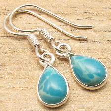 Natural LARIMAR Drop Gems Little Earrings Blue ! 925 Silver Plated Jewelry Store