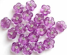 20 x PURPLE FLOWER BUTTON 15mm SCRAPBOOKING, CRAFT ETC.,