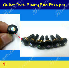 6pcs - Ebony End Pin w / Abalone Dot & Brass Inlay skirt : 7.7mm( G-1-1 )