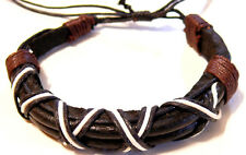 BRACELET CUIR NOIR HOMME/FEMME BIJOUX LEATHER MARRON BLACK BROWN
