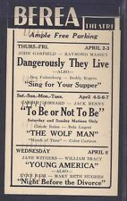 1942 BEREA THEATRE OHIO, THE WOLF MAN W/B LUGOSA & C RAINS, SEE INFO