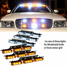 54 LED Car Truck Strobe Emergency Warning Light for Deck Dash Grill White Amber