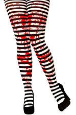 BLACK & WHITE a Righe Aderente Donna Costume Zombie Sangue Galeotto Halloween