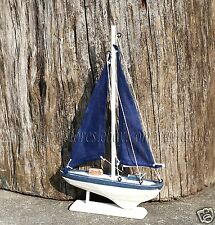 "11"" Blue Sailing boat Wooden Nautical Tabletop Decoration for Beach Theme Room"