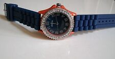 Geneva Fashion Orange/Blue Crystal Encrusted Silicone Band Wrist Fashion Watch