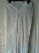 WHITE SLIM FIT  TROUSERS BY MARKS AND SPENCER, SIZE 8