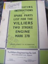 VILLIERS TWO STROKE ENGINE MARK 27B OPERATING INSTRUCTIONS & SPARE PARTS LIST