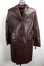 $882 TAHARI Luggage Brown Soft Leather Quarter Length Button Coat Jacket L NWT