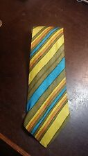 EDDY HARTH VINTAGE YELLOW BROWN TURQUOISE STRIPE DESIGNER MEN'S NECKTIE