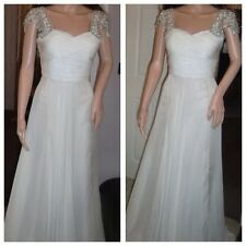 BNWT Ladies SHERRI HILL Ivory Full Length Bridal Dress With Gems-Size 8 Stunning