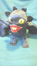 """HOW TO TRAIN YOUR DRAGON -TOOTHLESS NIGHT FURY - 17"""" X 7.5""""- POSEABLE TOY- 2010"""