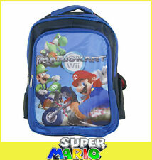 "16"" Super Mario Bros Kart Wii YOSHI LUIGI Backpack School Book Bag blue SY04"