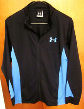 UNDER ARMOUR kids track jacket youth lrg blue athletic zipper-down fitness poly