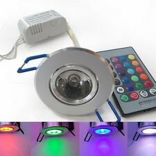 3W RGB LED Recessed Ceiling Light Spotlight Downlight Lamp + remote control FE
