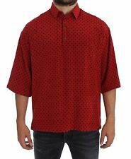 NWT $680 DOLCE & GABBANA Red Black Polka Silk Polo T-shirt EU52 / US42 / XL-XXL
