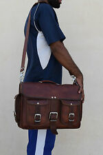 "16x12"" Real Brown Leather Briefcase Macbook Laptop Satchel Office Attaceh Suitca"