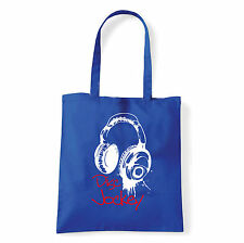 Art T-shirt, Borsa shoulder Disc Jockey Cuffie, Blu, Shopper, Mare