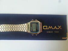 OMAX Gents Mens Digital Chronograph Silver Tone Metal Bracelet Watch Retro style