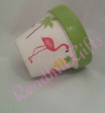 HAND decoupaged Shabby Chic FLAMINGO VASO