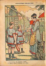 le Cathéchisme & la Gymnastique Obligatoire Ecole Laïque 1920 ILLUSTRATION