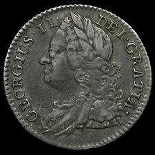 1745 George II Early Milled Silver Sixpence, Roses in Angles, Scarce