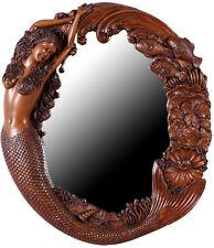 """Mermaid Mirror Long Hair Wood Finish 26""""H Fiberglass Resin Wall Decor Sea Siren"""