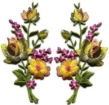 Yellow pink roses pair flowers floral bouquet boho applique iron-on patch S-984