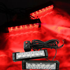 Red 2x 6.6 Inch LED Emergency Vehicle Car Strobe Flash Lights Front Grille Truck