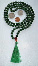 Green Jade & Carnelian 8mm 108+1 Hand Knotted Om Mala Beads Necklace - Energized