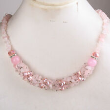 HOT ! Rose Quartz Chip Bead Crystal Glass Gemstone Necklace