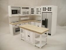 Deluxe Kitchen Set White & Marble T5414 dollhouse miniature 8pc 1/12 scale wood