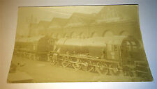 Antique Locomotive / Railroad Train Station Photo Postcard! Transportation RPPC!