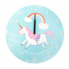 Round Unicorn Wall Clock Children's Clock Battery Operated Magical Unicorn