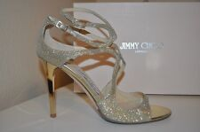 $850+ Jimmy Choo LANG Strappy Sandal High Heel Shoe GOLD Glitter 10 - 9.5 US