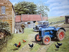Bautiful Print Picture Painting Farmyard Fordson Tractor Hens Country Poster