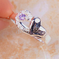 """925 Sterling Silver """"Love"""" engrave Purple Crystal 8mm Wide Ring Size 8 H1117"""